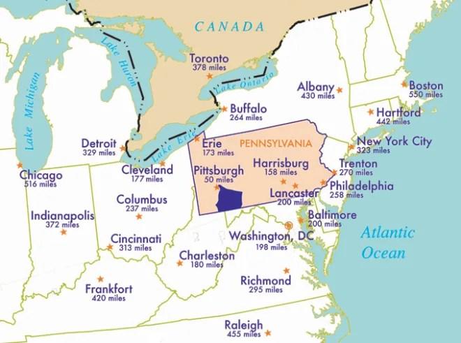 Around Greensburg Pa Map