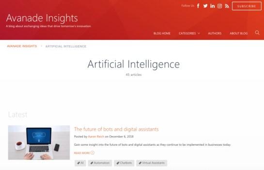 Avanade Insights' artificial intelligence blog