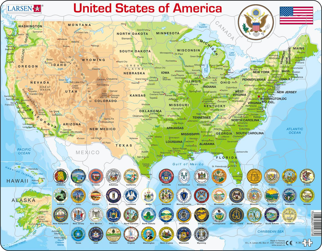 United States Map 90 Piece Children S Educational Jigsaw