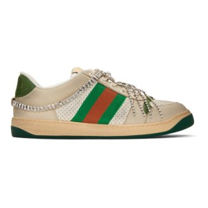 Gucci White Art Deco Screener Sneakers