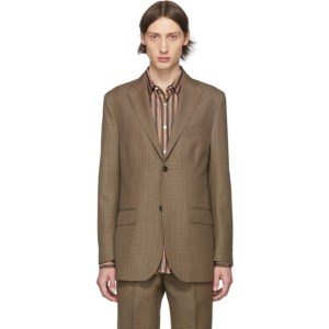 Cobra S.C. Brown and Black Wool Houndstooth Notch Lapel Blazer