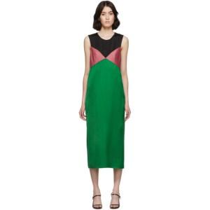 Marina Moscone Green and Black Heavy Satin Dress