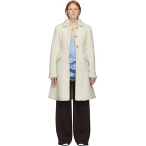 Marina Moscone SSENSE Exclusive Off-White Longhair Irving Coat