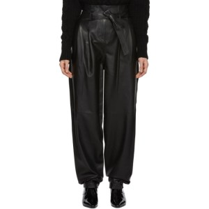 Wandering Black Belted Leather Trousers