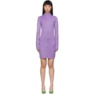 Mugler Purple Scuba Turtleneck Dress