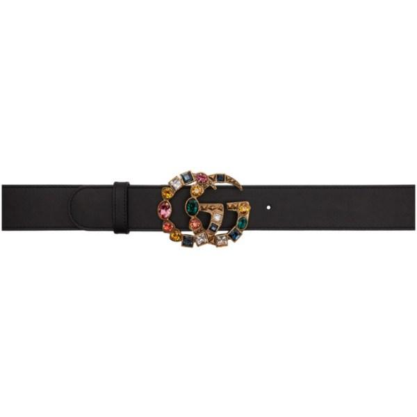 Gucci Black Crystal GG Buckle Belt