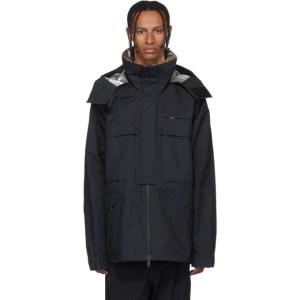 Unravel Black Open Side Windbreaker Coat