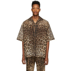 Dolce and Gabbana Brown Ripstop Leopard Shirt