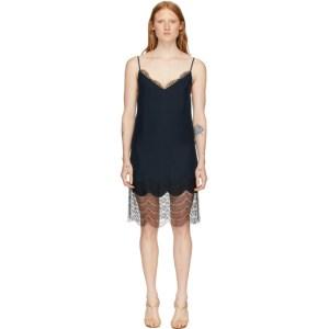 Kiki de Montparnasse Navy and Black Charmeuse and Lace Slip Dress