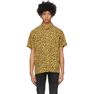 R13 Yellow and Black Leopard Tony Shirt