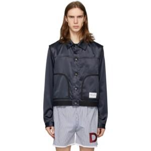 Daniel W. Fletcher Navy Satin Jeans Jacket