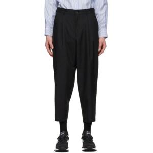 Comme des Garcons Homme Deux Black Wool Mix Stripe Trousers