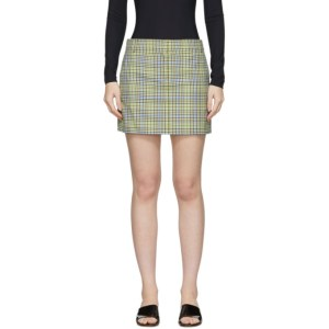 Tibi Green and Beige Recycled Check Miniskirt
