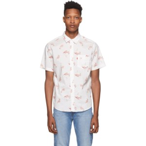 Levis White and Pink Flamingo Sunset Standard Shirt