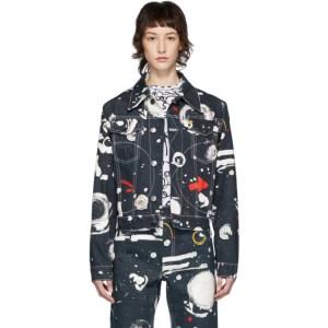 Charles Jeffrey Loverboy Navy Denim Asteroids Art Jacket
