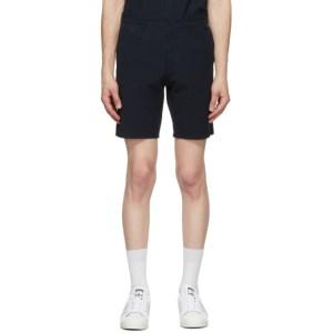 Norse Projects Navy Seersucker Aros Shorts