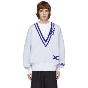 Xander Zhou White and Navy 2020 Sweater