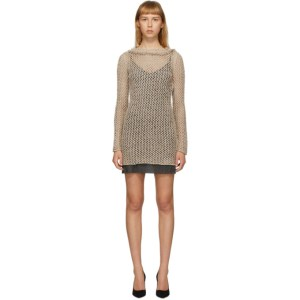 Alanui Beige Silk Raw Net Short Dress