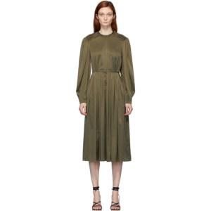 Situationist Khaki Silk Long Sleeve Dress