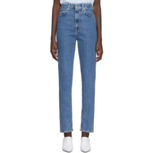 Helmut Lang Blue Denim Faded Hi Femme Spikes Jeans