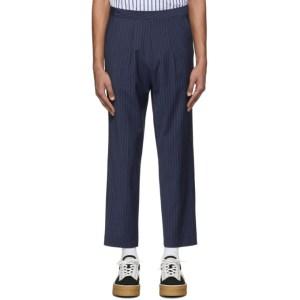Martin Asbjorn Navy Wool David Cropped Pinstripe Trousers