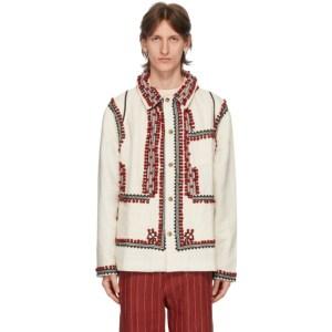 Bode White Pom-Pom Applique Workwear Jacket