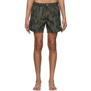 Moncler Genius 2 Moncler 1952 Khaki Printed Swim Shorts