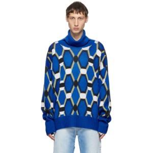 Random Identities Blue Wool Jacquard Sweater