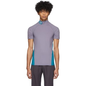 Keenkee Purple and Blue Fitted Turtleneck T-Shirt