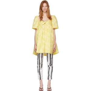 Pushbutton Yellow Check Puff Dress