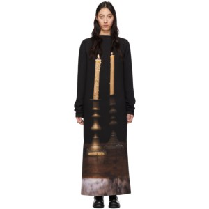 S.R. STUDIO. LA. CA. Black Silk Two Candles Long Sleeve Gown