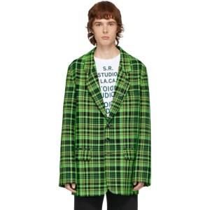 S.R. STUDIO. LA. CA. Green Open-Weave Check Blazer