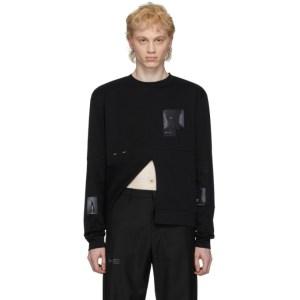 HELIOT EMIL Black Wrapped Panel Print Long Sleeve T-Shirt