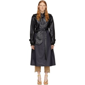 Sportmax Black and Navy Khat Trench Coat