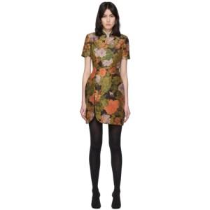 Richard Quinn Brown Floral and Crystal Short Dress