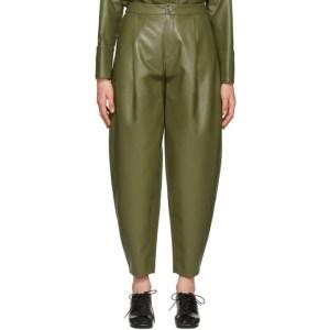 Aeron Green Faux-Leather Fran Trousers