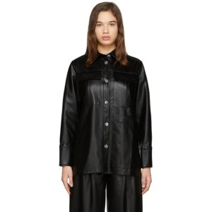Aeron SSENSE Exclusive Black Faux-Leather Blanche Shirt