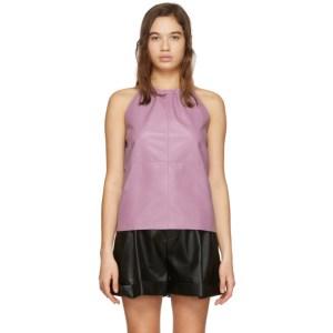 Aeron Purple Faux-Leather Alicia Tank Top