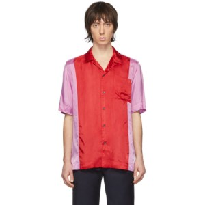 Dries Van Noten Red and Purple Colorblocked Pocket Shirt