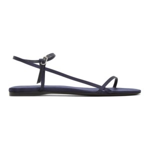 The Row Navy Bare Flat Sandals