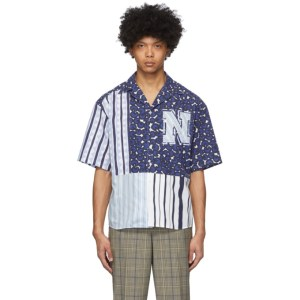 Neil Barrett Blue and Black Artist Print Short Sleeve Shirt