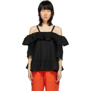 Henrik Vibskov Black Seersucker Floss Blouse