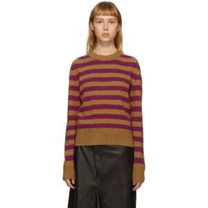 Rika Studios SSENSE Exclusive Tan and Purple Striped Sunny Sweater