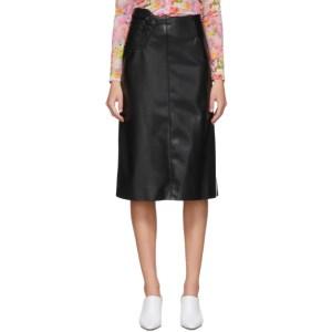 Commission SSENSE Exclusive Black Faux-Leather A-Line Skirt