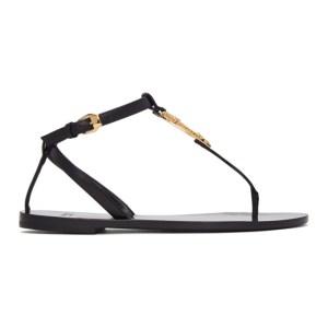 Versace Black Virtus Flat Sandals