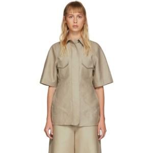 LVIR Beige Structured Short Sleeve Shirt