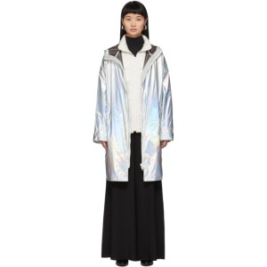 Yves Salomon - Army Silver Down Iridescent Removable Insert Coat