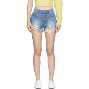 SJYP Blue Denim Button Shorts