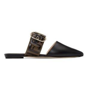 Fendi Brown and Black Sabot Slippers