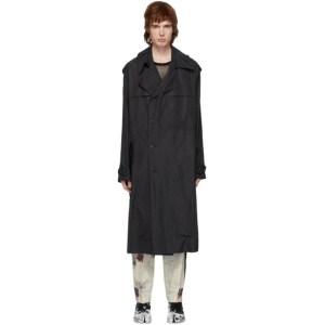 Isabel Benenato Black Detailed Long Coat